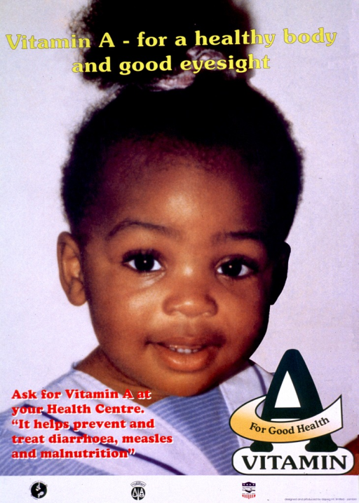 <p>Multicolor poster.  Title at top of poster.  Visual image is a color photo reproduction featuring a smiling young girl.  Caption in lower left corner.  Publisher and sponsor information at bottom of poster.</p>