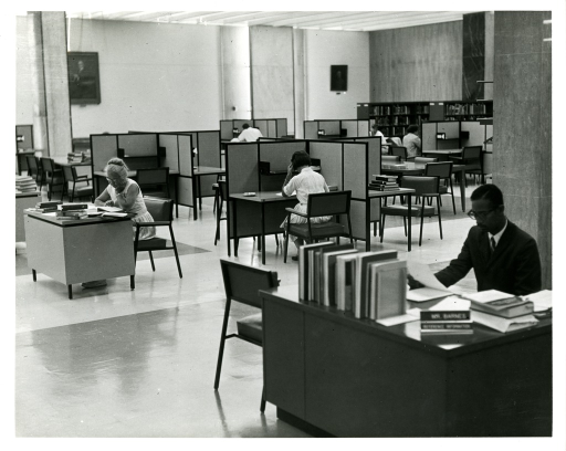 <p>Mr. Barnes in the main reading room at the National Library of Medicine.</p>