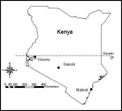 Map of Kenya showing Kisumu and Malindi Openi