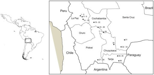 Sampling sites of wild populations of Triatoma infestans in Bolivia.The sites were numbered from 1 to 36, Bolivian department names are indicated, for the DTU T. cruzi results see in Table 1.