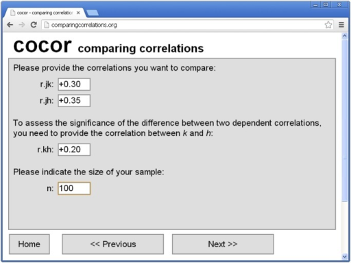 Screenshot of the cocor web interface on http://comparingcorrelations.org.