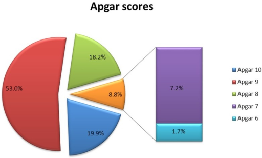 Apgar scores in the studied group