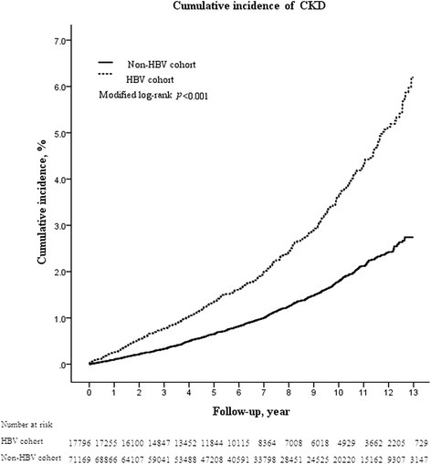 Cumulative incidence of CKD in the HBV and non-HBV cohorts. Data were compiled after adjustment for competing mortality