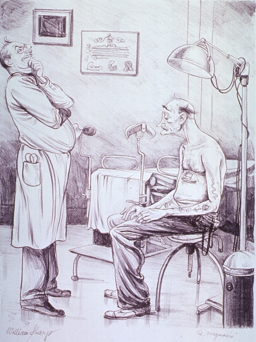 <p>A old man sitting on a stool in a physician's examination room, awaits the outcome of the examination; the physician stands before him with hand to chin, pondering the diagnosis.</p>