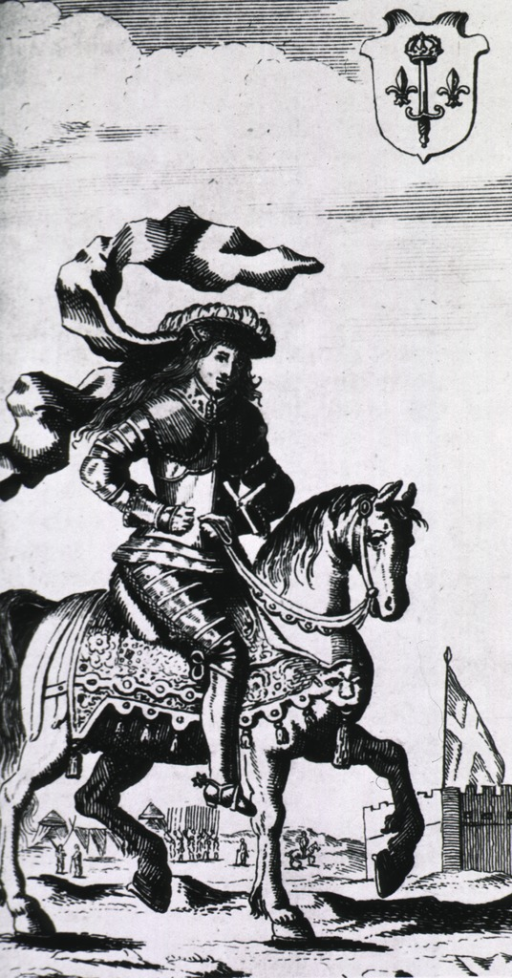 <p>On horseback, in armor.</p>