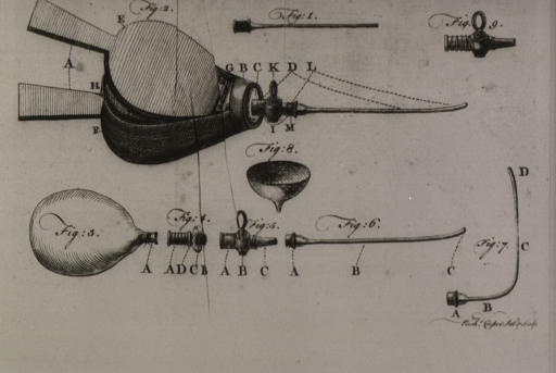 <p>A bellows is shown along with the various parts, including a long needle-like nozzle.</p>