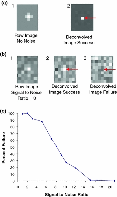 High noise levels limit the utility of the image deconvolution method. (a1) A simulated point-source fluorophore has been convolved with a theoretical PSF (no background noise) to produce a 32 × 32 image having a single signal in the center of the field. (a2) Subsequent image deconvolution (by Wiener filtering-based deconvolution using the Matlab image processing toolbox) precisely resolves the spreading of light due to the PSF, and correctly identifies the fluorophore location to be at the center. (b1) A simulated point-source fluorophore has been convolved with a theoretical PSF, but noise has been added to the image such that the SNR = 8. (b2) In this case, subsequent image deconvolution is able to correctly resolve the fluorophore location. (b3) In another image with SNR = 8, image deconvolution is not able to separate the fluorophore from background noise and misidentifies the location of the point source. (c) The ability of Wiener-filter-based deconvolution to separate fluorophores from background noise decreases substantially with decreasing SNR. The quantitative relationship between the failure rate and the SNR depends upon the specifics of the problem, but generally failure rate increases with decreasing SNR