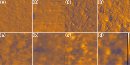AFM images of hybrid films (1 μm × 1 μm) with 50 wt% SnS2. (A) phase image of referenced MDMO-PPV film, (B) phase image of hybrid film with as-synthesized SnS2 particles, (C) phase image of hybrid film containing pyridine treated SnS2 particles, and (D) phase image of MDMO-PPV:pyridine-SnS2 film after annealing. (a)-(d) are the corresponding heitht images of (A)-(D). The scale bar in the height image indicates 40 nm.