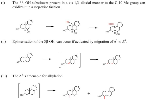 Significant biosynthetic reactions caused around 3β-OH; [ ] intermediate.