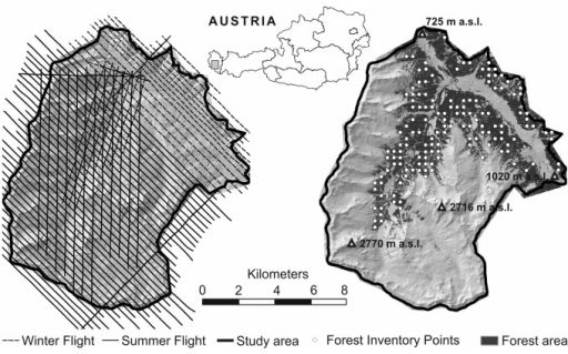 The location of the study area Montafon in the western part of the Austrian Alps. The left image shows the flight paths for the airborne laser scanner acquisition during the summer and the winter campaign, overlain over the shaded terrain model. The right image shows the location of the forest inventory plots overlain over the shaded terrain model with highlighted forested areas.