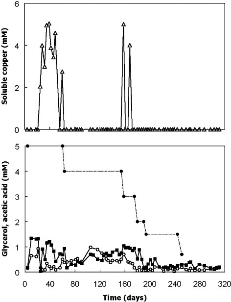 Changes in concentrations of soluble copper (▵), glycerol (○) and acetic acid () in bioreactor I during the first phase of operation. Concentrations of glycerol in the feed liquor are also shown (●). The feed liquor contained 1 mM copper, zinc and ferrous iron and its pH was progressively lowered from 2.5 to 2.1 on day 21.