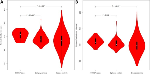 Violin plots of the burden score and variant number per individual. Plotted are the per-individual burden scores (A) and the number of variants per individual (B) of each test group. A violin plot is a box plot with the width of the box proportional to the estimated density of the observed data (proportion of cases with given ordinate value). The maximum density of the group-specific data distribution is indicated by the largest width of the violins. The density trace is plotted symmetrically to the left and the right of the box plot for better visualization. All violins have the same fixed maximum width. The white dot is the median, the thick black vertical bar represents the interquartile range (IQR), and the thin black vertical bar represents 95% confidence intervals.