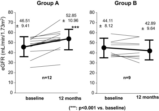 Variation in eGFR at the initiation of the treatment and 12 months after treatment about subgroups with eGFR < 60 mL/min/1.73 m2. All patients of both groups were taking RAS inhibitors. In 12 cases in Group A, eGFR increased significantly for 12 months before and after the treatment. Nine cases of Group B, conversely, tended to show reduction