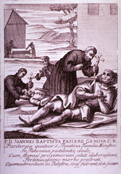 <p>Plague broadsides: Engravings attached to memorials for priests who died tending plague victims throughout Italy. Shows priests, clutching crucifixes, administering the Sacrament of Last rites to dying plague victims.</p>