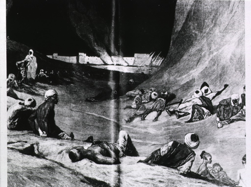 <p>Sick people waiting for the Nile to rise [demonstrating a belief in its healing properties].</p>