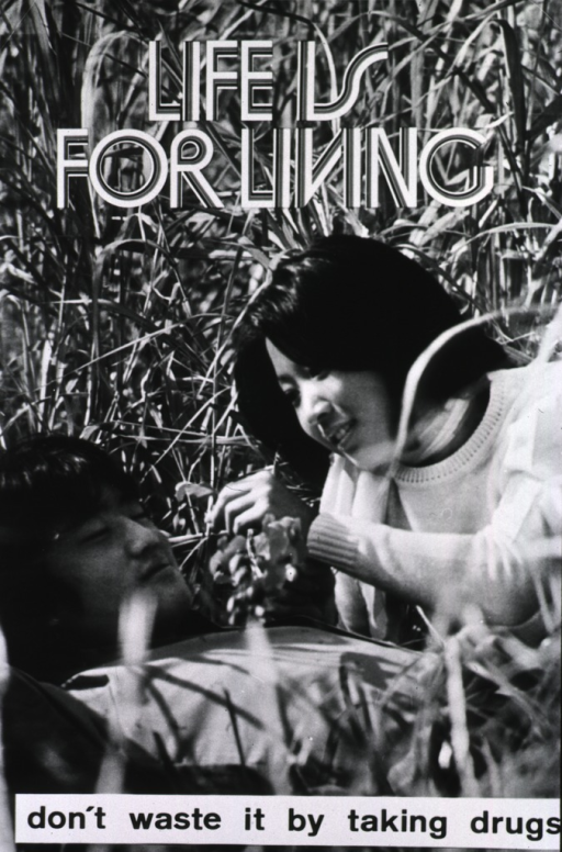 <p>Photograph of a poster from the Western Pacific Region: a young couple are lying in the grass; the girl is offering the boy a marijuana cigarette (?).</p>
