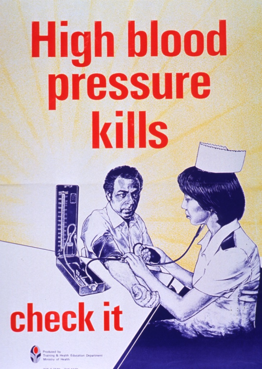 <p>Predominantly yellow poster with red and blue lettering.  Initial title words at top of poster.  Visual image is an illustration of a man having his blood pressure checked by a nurse.  Remaining title words below illustration.  Publisher information and logo in lower left corner.</p>