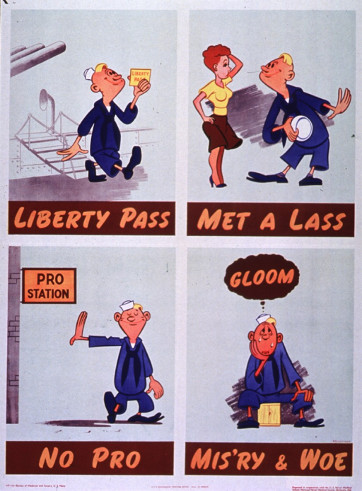 <p>Multicolor poster with tan lettering.  Poster is a four-panel cartoon, with one title phrase per panel.  Illustrations depict a sailor on leave who meets a woman.  The sailor bypasses the pro station, only to end up in tears in the final panel.  Publisher information at bottom of poster.</p>