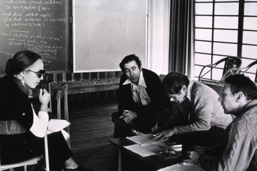 <p>Showing Dr. Maxine Singer, Dr. Norton Zinder, Dr. Sydney Brenner, and Dr. Ray Curtis at the Asilomar Conference, 1979.</p>