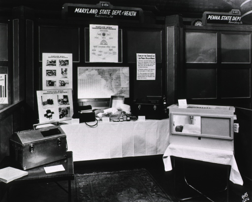 <p>View of the exhibit booth at the Oct. 6-10, 1947 convention.</p>