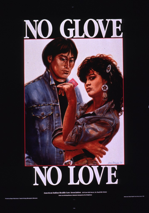 <p>Predominantly black poster with white lettering.  Initial title phrase at top of poster.  Visual image is a color illustration of a male-female couple.  The woman holds a condom package in her hand.  Remaining title text below illustration.  Publisher information at bottom of poster.</p>