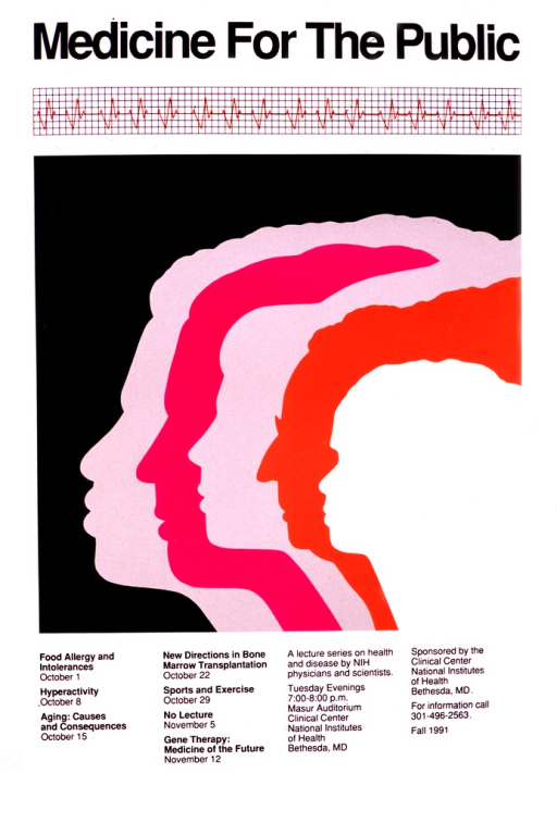 <p>The poster shows the profile silhouettes of five people, each partially on top of the other, representing different age groups and ethnic backgrounds.  A strip of printout from an EKG runs across the top of the poster.  Topics listed for discussion include: Food allergy and intolerances; Hyperactivity; Aging: causes and consequences; New directions in bone marrow transplantation; Sports and exercise; and Gene therapy: medicine of the future.  The dates, times, and locations are listed, as well as a phone number for more information.</p>