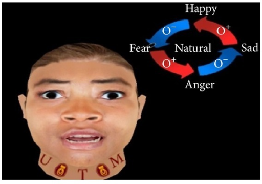 Creation of fear expression using FACS.