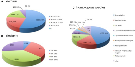 A homology search was conducted by BLASTx against the NR database. (A)E-value distribution of BLAST hits for matched unigene sequences. (B) Similarity distribution of top BLAST hits for each unigene. (C) Species distribution of the top BLAST hits.