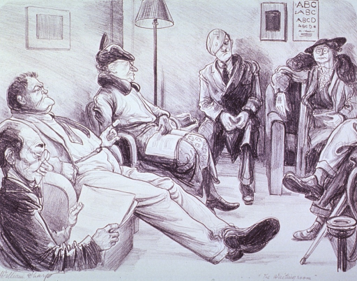 <p>Interior view of a waiting room with several patients sitting around the room.</p>