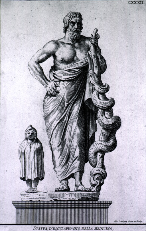 <p>Standing, full length, front, one hand on cane entwined with serpent, other hand at hip. Figure of Telesforo at left.</p>