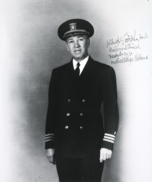 <p>Three-quarter length, standing, full face; wearing uniform of U.S. Naval Officer.</p>