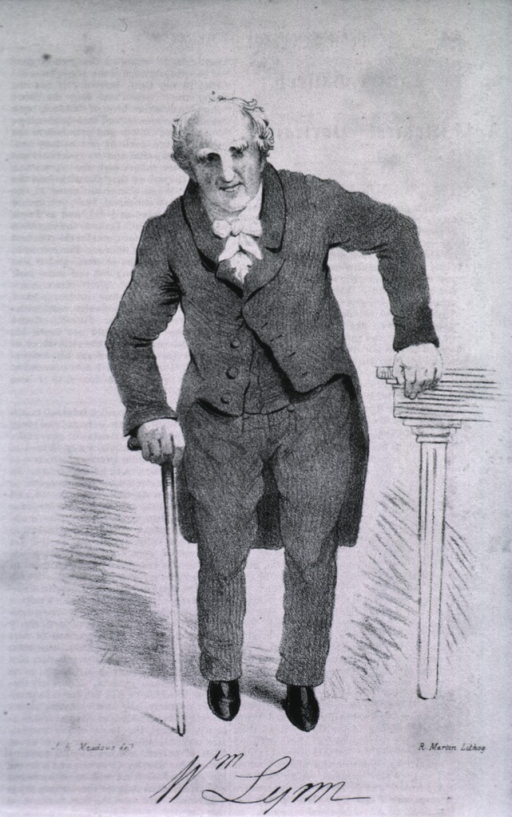 <p>Standing, full figure, one arm on table, other leaning on cane.</p>
