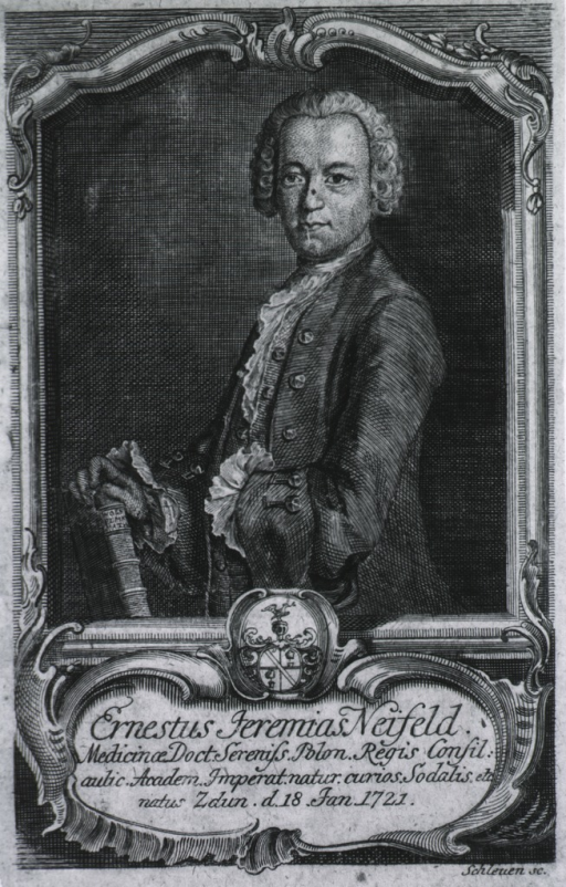 <p>Standing, left pose, hand on book, portrait in rect. frame with coat-of-arms and name plate.</p>