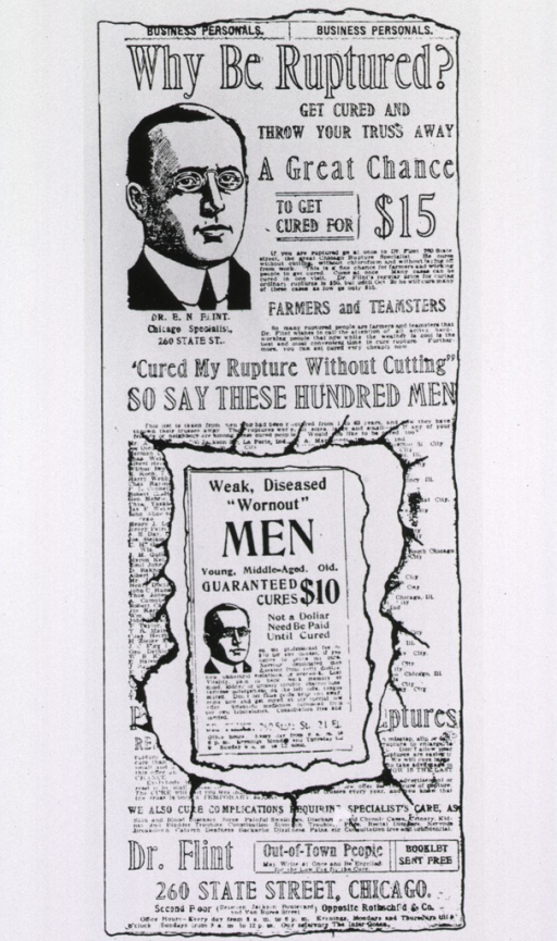<p>Portrait of Dr. E.N. Flint (head only) with accompanying advertising text.</p>