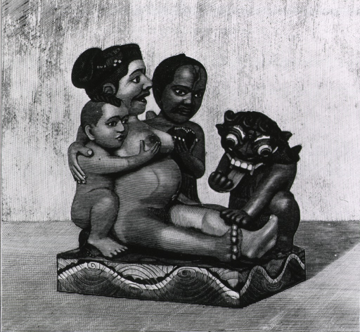 <p>A man and boy assist the woman and witch doctor during labor.</p>