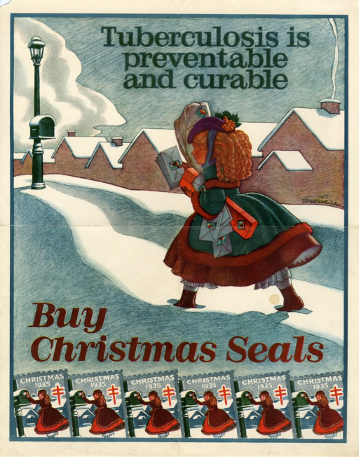 <p>Multicolor poster.  Title at top of poster.  Visual image is an illustration of a young woman trudging through the snow toward a mailbox.  She carries many envelopes and a couple of packages, all of which bear a Christmas seal.  Caption and 6 illustrations of the 1935 Christmas seal at bottom of poster.</p>