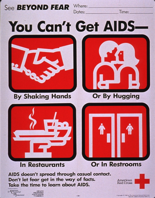 <p>White poster with black print and four red squares. The red squares have white drawings showing: two people shaking hands, hand and wrist only; a couple hugging; a restaurant table with a glass and dishes; and a set of restroom doors, one for men and the other for women. The American Red Cross logo is in the lower right corner. The top right corner has a blank space to be filled in to indicate where a meeting will take place, and the dates and times of the meetings.</p>