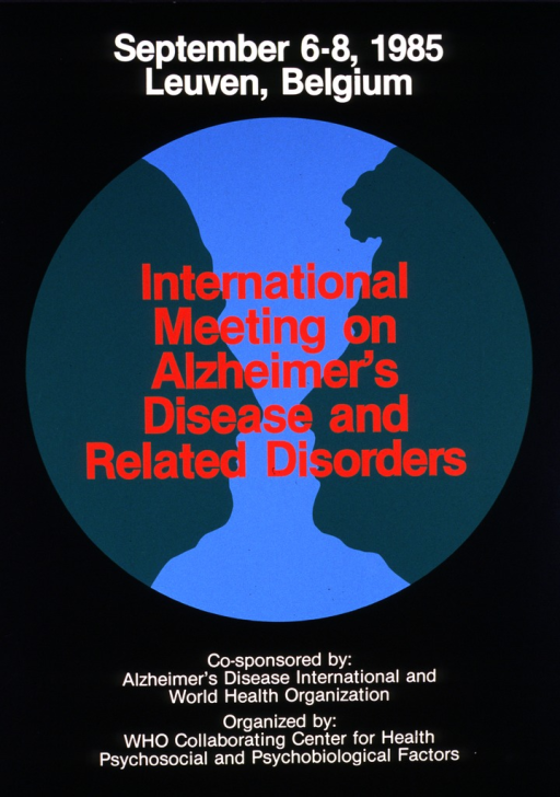 <p>Black poster with a large blue circle in the middle.  In the middle of the circle are two green silhouette profiles of a middle aged person and an elderly person facing each other.</p>