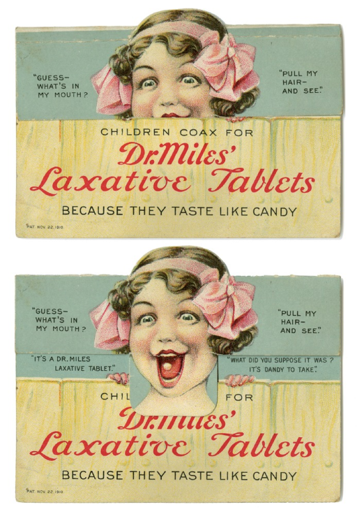 <p>A young girl wearing a pink headband with bows is smiling with her mouth wide open.  In her mouth is one of Dr. Miles' laxative tablets.</p>