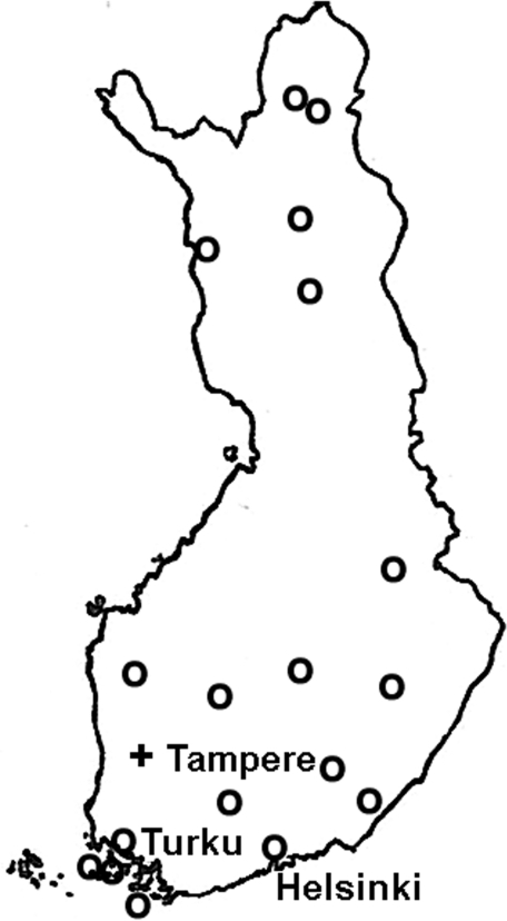 Map of Finland; circles indicate distribution of waterborne norovirus outbreaks, 1998–2003.