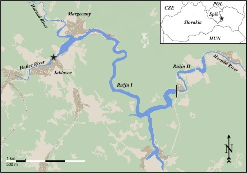The Ružín water reservoir with indication of the sampling site (★) located near Jaklovce village and the mouth of the Hnilec River into the reservoir.