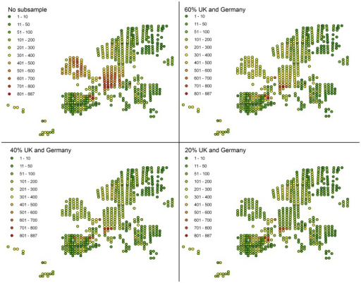 Number of bryophyte species occurrence per MGRS pixel in Europe.when all the data collected (Table S1) are considered (no subsample) and when the most intensively surveyed areas (UK and Germany) are subsampled at 20%, 40% and 60%, respectively.