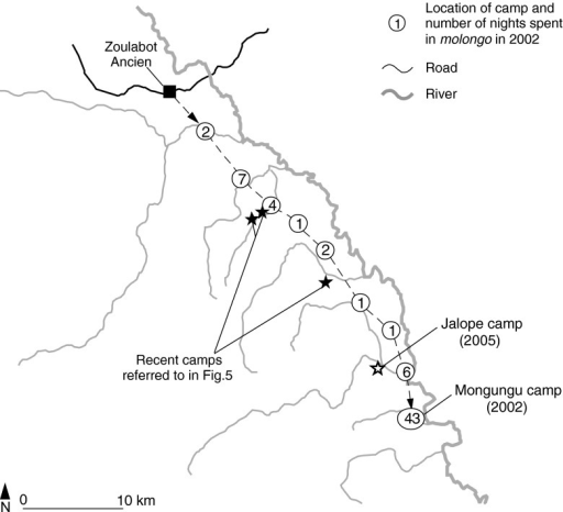 Routes and camps of the molongo from Feb. 17 to Apr. 27, 2002 (Yasuoka 2006a)