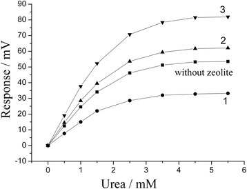 Calibration curves of different urea biosensors. They were based on: first (1), second (2), and third (3) variant of coimmobilization of urease with zeolite H+-BEA-30. Measurements were conducted in 5 mM phosphate buffer, pH 7.2.