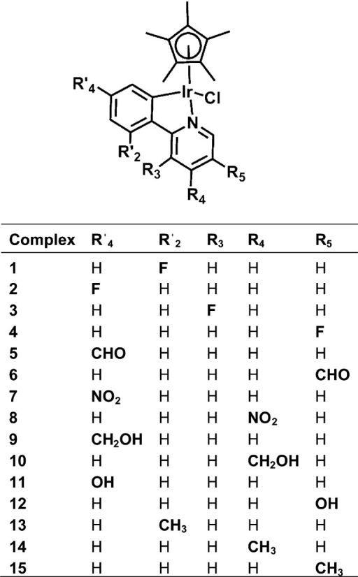 [(η5-Cp*)Ir(2-(R′-phenyl)-R-pyridine)Cl]Complexes Studied in This Work