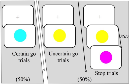 "Trial structure of the stop-signal task (SST). There were three main trial types: certain go, uncertain go and stop trials. Certain go trials were signaled by a blue circle and always required to either press a response button (manual-responses) or produce the short vowel sound ""ɪ"" as it would occur in the word ""hit/hɪt/""(vocal-responses). Uncertain go trials were signaled by a yellow circle and required a response as in the certain go trials. Finally, stop trials started as uncertain go trials but after the stop signal delay (SSD), a stop-signal was presented, which was signaled by a purple circle. Participants were instructed to attempt to withhold their responses on seeing the stop signal. In the high probability stop condition, stop signals occurred following 2/3 of the uncertain go signals whereas in the low probability stop condition stop signals occurred following 1/3 of the uncertain go signals."