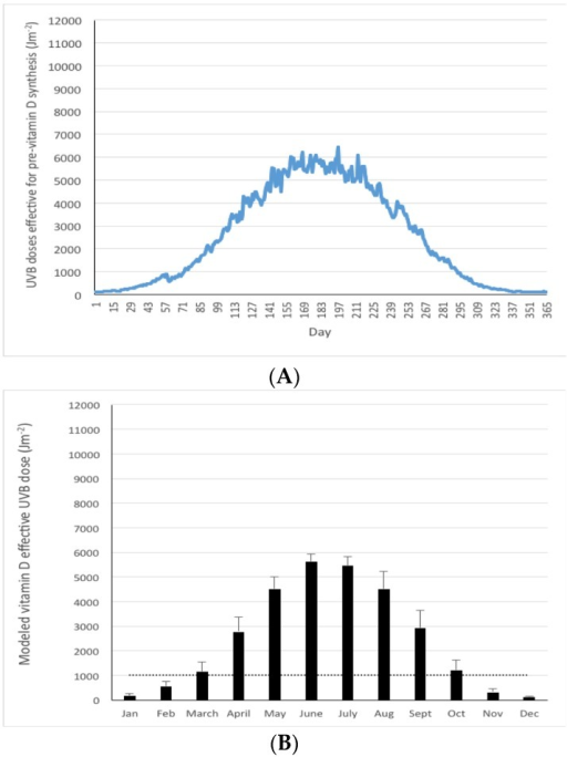 Mean modeled UVB doses effective for pre-vitamin D3 synthesis (Jm−2) in Germany (47–55° N) on a daily (A) and monthly (B) basis in a typical year (mean of 2003–2012). Dotted line in panel B reflects a threshold of 1000 Jm−2 as a guide to a dose below which dermal synthesis of pre-vitamin D3 is relatively low.