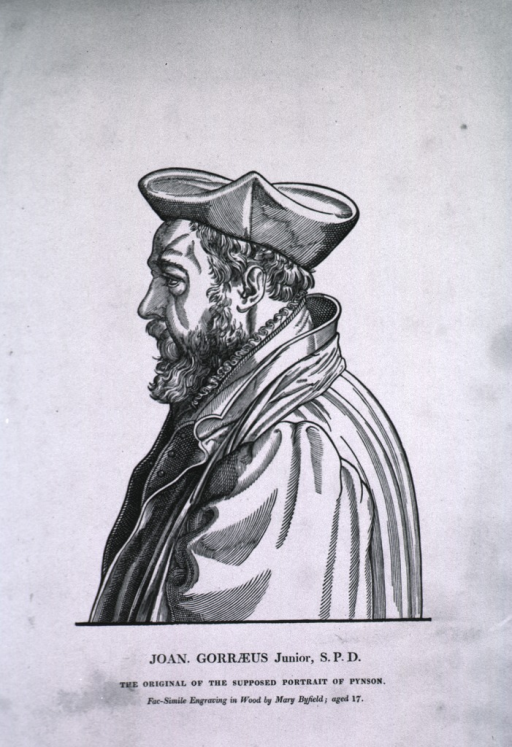 <p>Half-length, left profile; wearing robe and cap.</p>