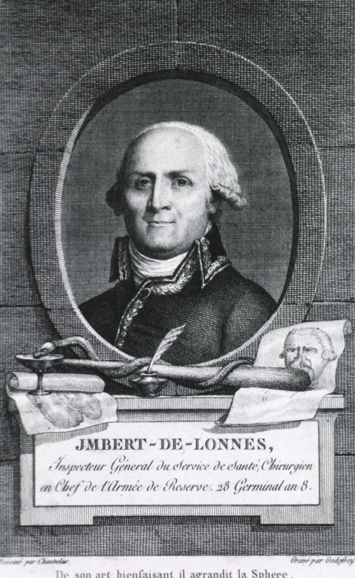 <p>Head and shoulders, left pose, full face; in oval on pedestal; showing caduceus, ink-pot with quill, and goblet.</p>