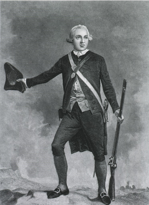 <p>Standing figure, tricorned hat in one hand; gun in other.  Scene in Revolutionary War.</p>
